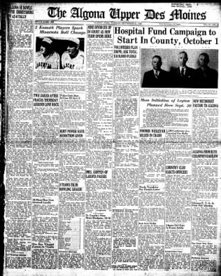 The Algona Upper Des Moines from Algona, Iowa on September 24, 1946 · Page 1