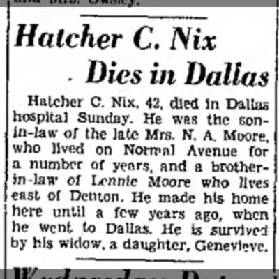 Hatcher C. Nix 1890-1933 Obituary -