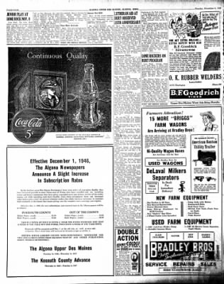 The Algona Upper Des Moines from Algona, Iowa on November 5, 1946 · Page 12