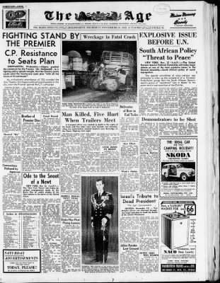 The Age from Melbourne, Victoria, Australia on November 13, 1952 · Page 1