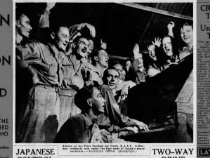 Photo of airmen of the RAAF in Borneo celebrating