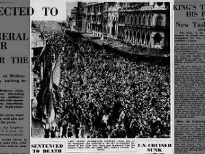 Photo of crowds gathered in Melbourne, Australia, to celebrate news of V-J Day