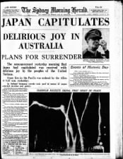 Sydney, Australia, newspaper August 16 front page with V-J Day headline