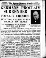 Australian newspaper front page from May 8, 1945: