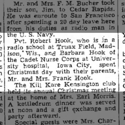 1944 (5) Wapello Muscatine News Tribune 12.30.1944 - the U. S. Navy. Pvt. Robert Hook, who is in a...