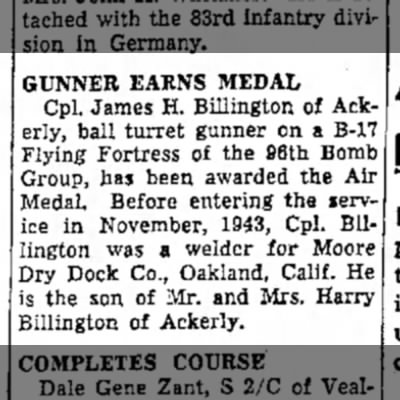 - GUNNER EARNS MEDAL Cpl. James H. Billington of...