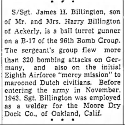 - S/Sgt. James H. Billington, son of Mr. and Mrs....