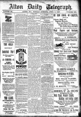 Alton Evening Telegraph from Alton, Illinois on April 4, 1887 · Page 1