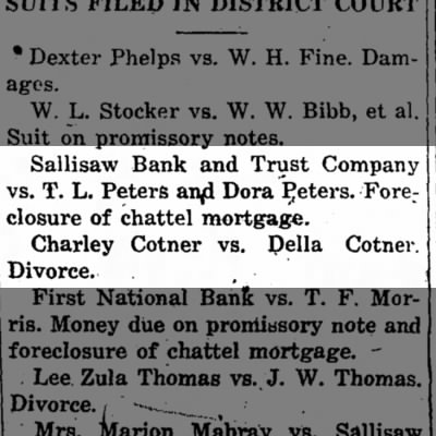 Charley Cotner vs. Della Cotner Divorce