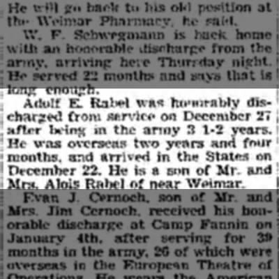 Sonny Adolph Rabel Army discharge Jan 1946 Mercury -