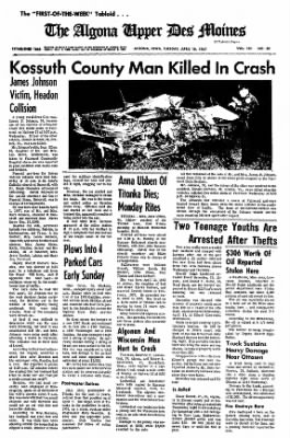 The Algona Upper Des Moines from Algona, Iowa on April 18, 1967 · Page 4