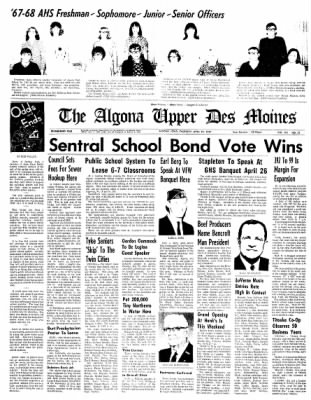 The Algona Upper Des Moines from Algona, Iowa on April 20, 1967 · Page 19