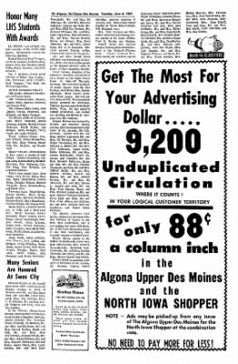 The Algona Upper Des Moines from Algona, Iowa on June 6, 1967 · Page 18