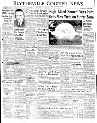 The Courier News from Blytheville, Arkansas on August 2, 1951 · Page 1