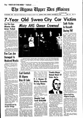 The Algona Upper Des Moines from Algona, Iowa on September 26, 1967 · Page 1