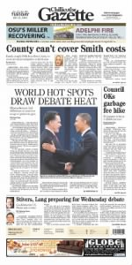 Sample Chillicothe Gazette front page