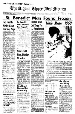 The Algona Upper Des Moines from Algona, Iowa on January 9, 1968 · Page 1