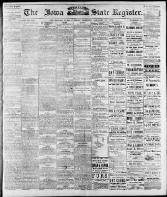 The Des Moines Register from Des Moines, Iowa on January 21, 1873