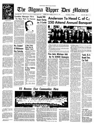 The Algona Upper Des Moines from Algona, Iowa on January 25, 1968 · Page 1