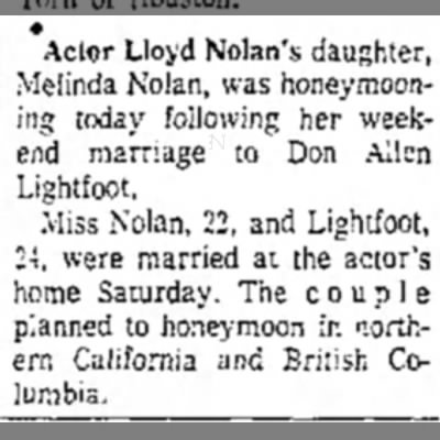 nolan_melinda_honeymoon_29oct1962 - • Actor Lloyd Nolan's daughter, Melinda Nolan,...