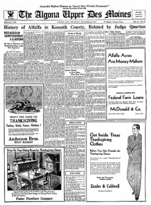 The Algona Upper Des Moines from Algona, Iowa on November 23, 1933 · Page 11