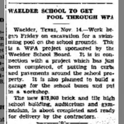 - Waelder, Texas, Nov. 14.—Work began Friday on...