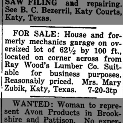 Mary Zubik -- For Sale House and Mechanics Garage