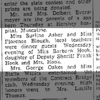 1937 Wapello Muscatine News Tribune 10.1.1937 - hospital. Muscatine. Miss Surline Asher and...