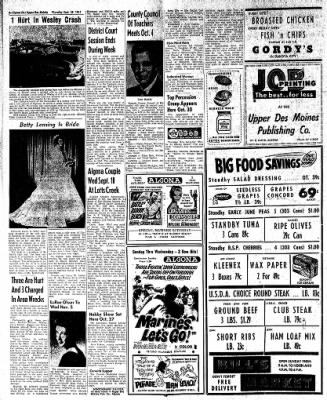 The Algona Upper Des Moines from Algona, Iowa on September 28, 1961 · Page 6