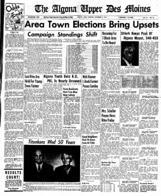 The Algona Upper Des Moines from Algona, Iowa on November 9, 1961 · Page 1