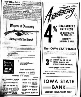 The Algona Upper Des Moines from Algona, Iowa on January 9, 1962 · Page 15