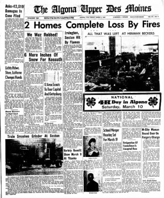 The Algona Upper Des Moines from Algona, Iowa on March 6, 1962 · Page 1