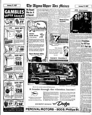 The Algona Upper Des Moines from Algona, Iowa on January 17, 1957 · Page 15