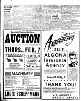 The Algona Upper Des Moines from Algona, Iowa on January 31, 1957 · Page 4