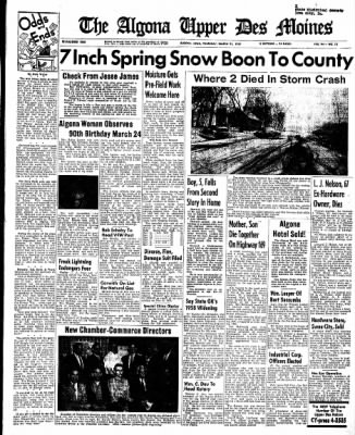 The Algona Upper Des Moines from Algona, Iowa on March 21, 1957 · Page 1
