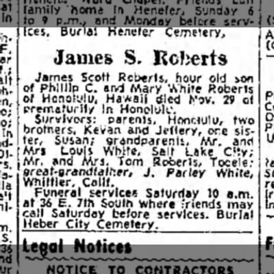 James S. Roberts obituary, 14 Dec 1963 - services. Burial Hemjter Cemetery, James S....