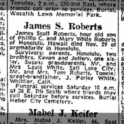 James S. Roberts obituary, 15 Dec 1963 - in Wasatch Lawn Memorial Park. James S. Roberts...
