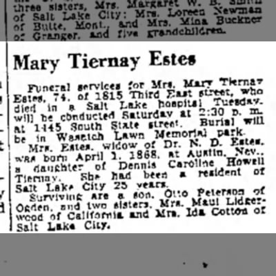 Another death announcement The Salt Lake Tribune 17 Jul 1942 Mary Estes - Mary Tiernay Este§ S^SU^thS&V^CJurl^wni He in...