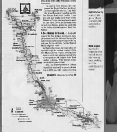 The Des Moines Register from Des Moines, Iowa on September 25, 1994 Dragoon Trail Map on