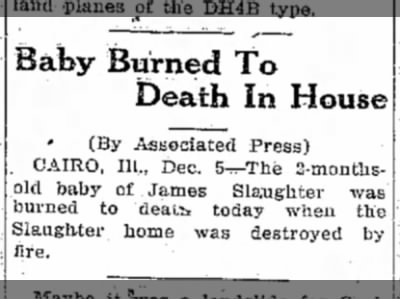 Possible death of a Slaughter child.