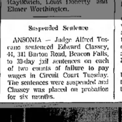Naugatuck news march 1965 - ANSONIA — Judge Alfred Toscano sentenced Edward...