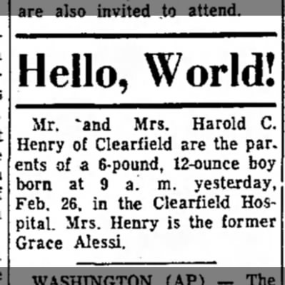 - Hello, World! Mr. 'and Mrs. Harold C. Henry of...