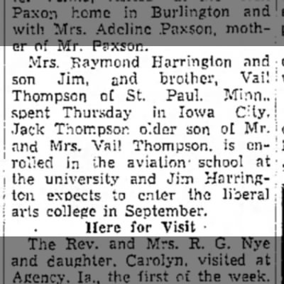 1942 Jim Harrington Muscatine News Journal 8.21.1942 -