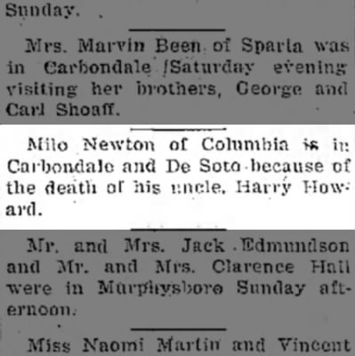 Milo Newton Visits De Soto for Harry Howard's funeral.  10 Feb 1941