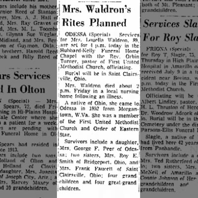 Luella Waldron Obit Lubbock Avalanche-Journal 9 Sept 1972