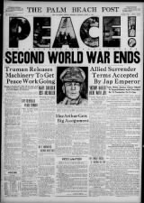 Florida newspaper August 15 front page with V-J Day headline