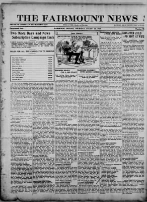 The Fairmount News from Fairmount, Indiana on August 25, 1921 · Page 1
