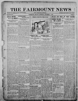 The Fairmount News from Fairmount, Indiana on December 1, 1921 · Page 1