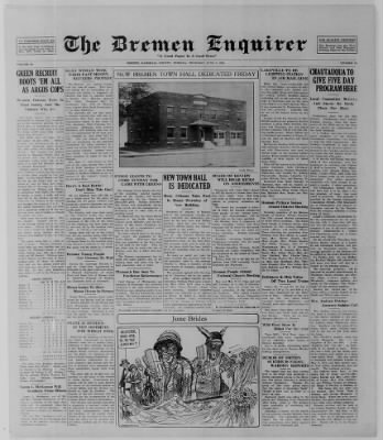 The Bremen Enquirer from Bremen, Indiana on June 5, 1924 · Page 1