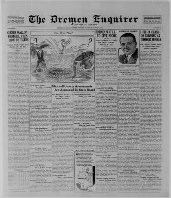 The Bremen Enquirer from Bremen, Indiana on August 7, 1924 · Page 1